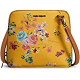 DailyObjects Mustard Floral Trapeze Sling Crossbody Bag for girls and women   Vegan leather, Stylish, Sturdy, Zip closure wit