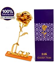 Valentine Special 24K Gold Rose with Gift Box and Carry Bag with Lifetime Warrant Card (27 cm X 9.5 cm X 6 cm, Golden)