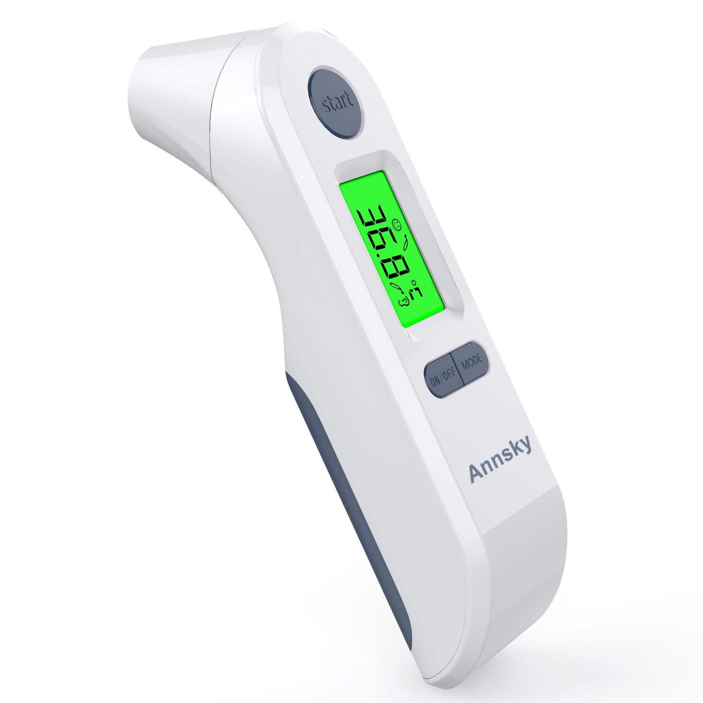 Termómetro Digital Frente y Oído, Annsky Termómetro Infrarrojo Médico apto para la Bebés, Niños, Adultos con Función de Advertencia de Fiebre,Temperatura Ambiente