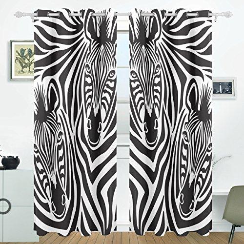 COOSUN Zebra Paar Blackout Vorhänge Verdunkelung Thermische Isolierte Polyester Grommet Top Blind Vorhang für Schlafzimmer, Wohnzimmer, 2 Panel (55 Watt x 84L Zoll) (Zebra Thermische Vorhänge)