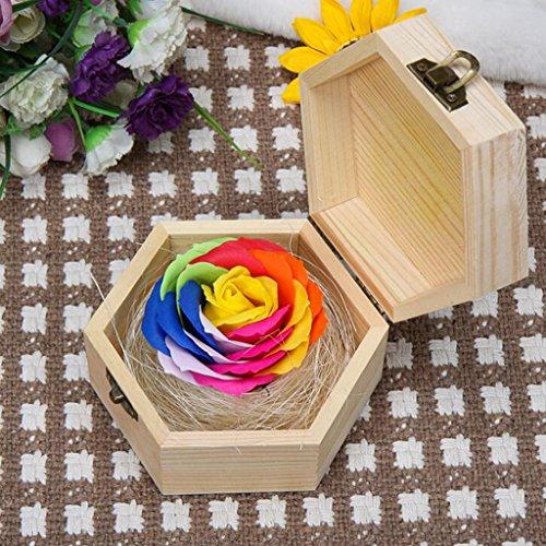 Aoligei Rosen-Seifenblume Hexagonal Kasten ewige Blume rosafarbenes Geschenkkasten-Feiertagsgeschenk 7 * 13cm