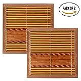 #4: HOKIPO® Bamboo Coasters Heat Pad, 18 x 18 cm (2 PIECE SET)