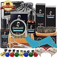 GoldWorld Kit Complet de Barbe d'Homme avec Gratuit Shampoing Barbe,Huile de Barbe,Brosse à Barbe,Peigne à Barbe,Baume de Barbe,Ciseaux à Barbe,la barbe se développe produit