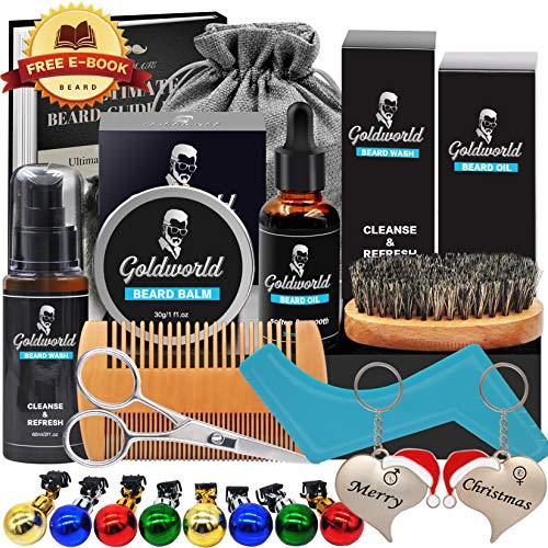 Kit Set Cuidado Barba con Libre Champu Barba,Peine Barba,Cepillo Barba,Aceite Barba,Balsamo Barba,Barba Tijeras,Productos Hidratante Acondicionador Barba