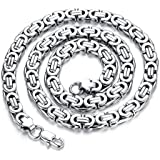 Leadcin Titanium Steel Mens Necklace Heavy Boys Chain 9mm Wide 22 inches