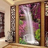 Yosot 3D Benutzerdefinierte Wandbild Tapete Wasserfall Schwan Rosa Blume Wohnzimmer Eingangshalle Hintergrund Wandmalerei Wohnkultur Tapeten Wandmalereien-140cmx100cm