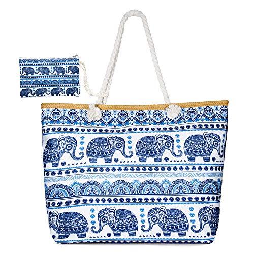 MOOKLIN Große Strandtasche mit Reißverschluss Sommer TascheVerschluss Damen Shopper Tasche Schultertasche Schwimmbad Badetasche Umhängetasche Beach Bag (12) -