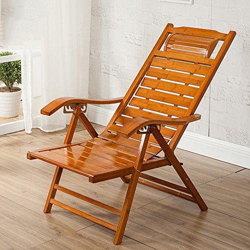 DEO Fauteuils inclinables Réglable Chaise Bambou Lounge Chair Extérieure Pliante Lounge Chair Chaise longue Chaise Recliner Patio Piscine Chaises Longues Chaise