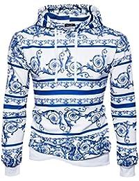 Männer Langarmshirt 3D Digital Print Blaue und weiße Porzellan Sport  Pullover Hoodies Kapuzenpullover a647f520af