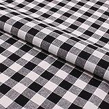 Hans-Textil-Shop Stoff Meterware Karo 15x15 mm Schwarz Baumwolle
