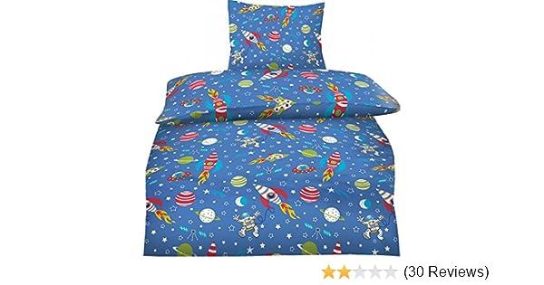 Bettwäsche Weltall Weltraum Sterne 135x200 Biberbettwäsche