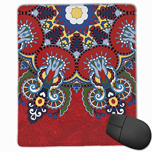 Mouse Mat Stitched Edges, Russian And Ukranian Ethnic Lace Like Flowers Leaves Swirls Vintage Artwork,Gaming Mouse Pad Non-Slip Rubber Base -