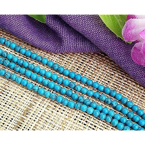 Ecloud Shop® Azul Turquesa de la piedra preciosa de la gema granos redondos de 4 mm de Moda