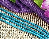 Ecloud Shop Azul Turquesa de la piedra preciosa de la gema granos redondos de 4 mm de Moda