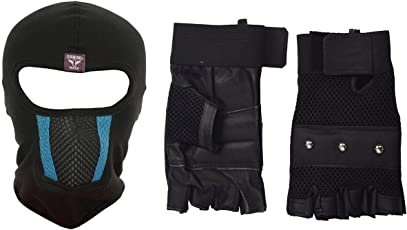 H-Store Balaclavas Mask Unisex Lycra Face Mask Black Anti Pollution Dust Sun Protecion Face Cover Mask with Black Gym Workout Body Geometry Road Cycling Race Bodybuilding Leather Unisex Adults Gloves