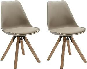 Chaise Salle à Manger Lot de 2 Kaki en Plastique avec Coussin en Similicuir Design Retro Chaise scandinave avec Pieds en Bois Duhome 0448