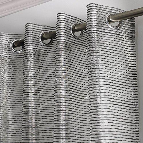 Atlanta Sparkle Streifen Voile Vorhang, Ready Made Öse Panel, Ring Top Sheer Vorhänge, bestickt, Glitzer gestreift Detail, Polyester, schwarz, 56