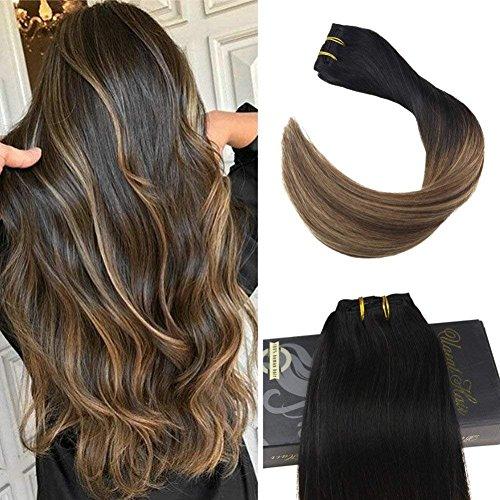 Ugeat Clip in Echthaar Extensions 20 Zoll/50cm Remy Human Hair Extensions Echthaar Tressen Schwarz und dunkelbraun bis Karamell Blondine Black Omber Brown verblasst zu Blond