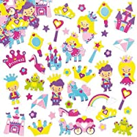 Baker Ross Princess Foam Stickers (Pack of 120) For Kids Decorating Activities, Scrapbooking and Card Making