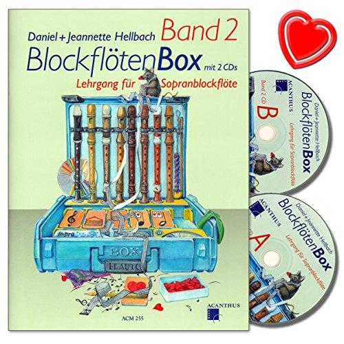 BlockflötenBox Band 2 - Lehrgang ( Unterstufe: 7 - 8 Jahre) für Sopranblockflöte mit 2 CDs von Daniel Hellbach - mit bunter herzförmiger Notenklammer