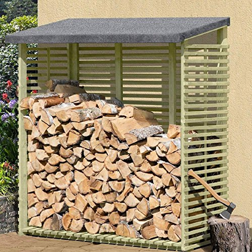 Preisvergleich Produktbild Kaminholzregal mit Rückwand für 1,8 m³ Holz von Gartenpirat®