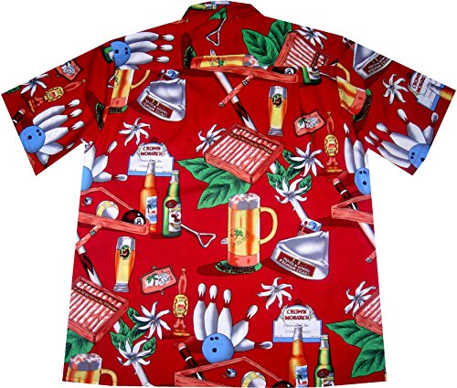 "Chemise Hawaiienne Homme ""It's Partytime"" 100% coton, taille M – 3XL, rouge Rouge"