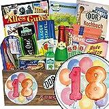 18er Jahrestag Beziehung | Geschenke zum 18. | Spezialitäten Set | Geschenk Idee | DDR Produkte | INKL DDR Kochbuch