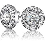 Mestige MSER3032 Women's Rhodium Plated Crystals Stud Earrings