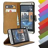 EximMobile - Book Case Handyhülle für HTC One Mini 2 mit Kartenfächer in Schwarz | Schutzhülle aus Kunstleder | Handytasche als Flip Case Cover | Handy Tasche | Etui Hülle Kunstledertasche