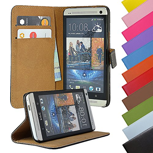 EximMobile - Book Case Handyhülle für HTC One Mini 2 mit Kartenfächer in Schwarz | Schutzhülle aus Kunstleder | Handytasche als Flip Case Cover | Handy Tasche | Etui Hülle Kunstledertasche (Htc One Mini 2 Case)