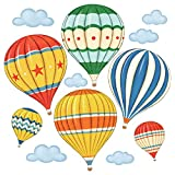 Decowall DS-8011 Bunter Heißluftballon Flugzeuge Wandtattoo Wandsticker Wandaufkleber Wanddeko für Wohnzimmer Schlafzimmer Kinderzimmer (Klein)