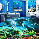 Weaeo Benutzerdefinierte 3D Bodenaufkleber Ocean World Dolphin Toiletten Badezimmer Schlafzimmer Vinyl Boden Wandbild Pvc Wasserdichte Tapete Malerei Modern-120X100Cm