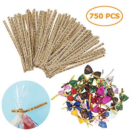 AYE 700 Stück 9cm Metallic Twist Krawatten und 50 Stück 8cm Twist Krawatten mit bunter Schleife für Partygeschenkbeutel -