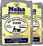 #6: Large Size : 22 inch x 26 inch | 64 bags |100% Oxo-Biodegradable England's Neha Garbage Bag - Black | Free Rubber Band Pack