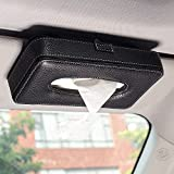 Nikavi NKVLS01 Multi-Use Card Clip Car Visor Hanging Tissue Paper Holder Case with One Tissue Refill for Car and Truck Decoration (Black)