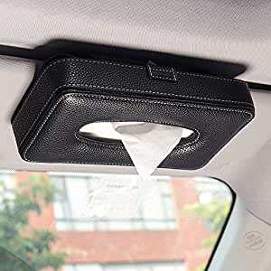 NIKAVI Leather Clip Car Visor Tissue Paper Holder Mount, Hanging Tissue Holder Case for Car Seat Back, Multi-use Paper Towel Cover Case with One Tissue Refill for Car & Truck Decoration (Black)