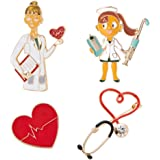 PRETYZOOM Enfermera Doctor Broche Pin de Solapa de Corazón Botón Divertido Insignia para Hombres Mujeres Ropa Joyería Enferme