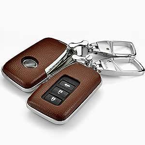 Ontto Smart 2 3 4 Tasten Autoschlüssel Hülle Auto Schlüssel Abdeckung Tasche Echtes Leder Abs Schlüsselschutz Mit Schlüsselanhänger Für Lexus Is Gs Rx Es Nx Ls Rc Lx Keyless Go Schutz Braun Auto