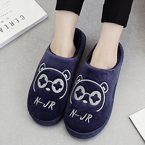 DogHaccd pantofole,Pantofole di cotone femmina maschio coppie cadono spesso soggiorno invernale home in inverno con pantofole di peluche carino Royal Blue1