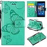 Hozor Sony Xperia Z3 Compact Handyhülle, Retro Großer Schmetterling Muster PU Kunstleder Ledercase Brieftasche Kartenfächer Schutzhülle mit Standfunktion Magnetverschluss Flip Cover Tasche, Grün