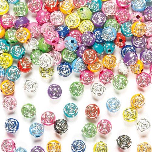 Perlen in Rosenform und mit Funkeleffekt für Kinder zum Basteln und für Schmuck (400 Stück)