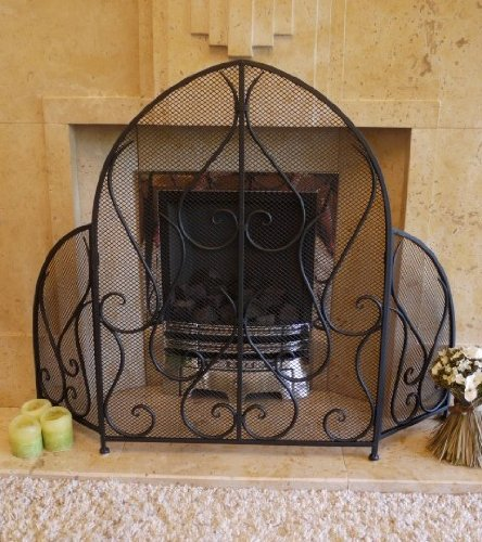Chamberlain Crest - Arched Black Three Fold Firescreen - 115x85cm