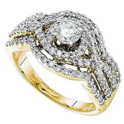 1.02 Carat(ctw) 14 ct Yellow Gold White Diamond Split Shank