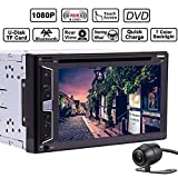 6.2' HD Doppio 2DIN Bluetooth capacitivo touch screen radio autoradio MP3 supporto DVD Video Lettore CD e ingresso audio Subwoofer 1080P controllo del volante telecomando + Rear View Camera