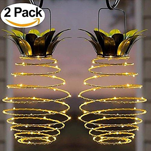 Somedays 2-pack garden solar lights, outdoor decor ananas percorso luci da appendere a luce solare, impermeabile 20led calda solare leggiadramente per patio path arredamento illuminazione