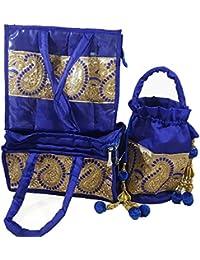 Nirmitee Designer Wedding Handbag, Potli And Jewellery Bag Set Blue Colour With Stone Work