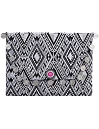 Ethnic Lanna Guatemalan Diamond White Clutch Purse With Coins Tribal Geometric Embroidered Design Bag