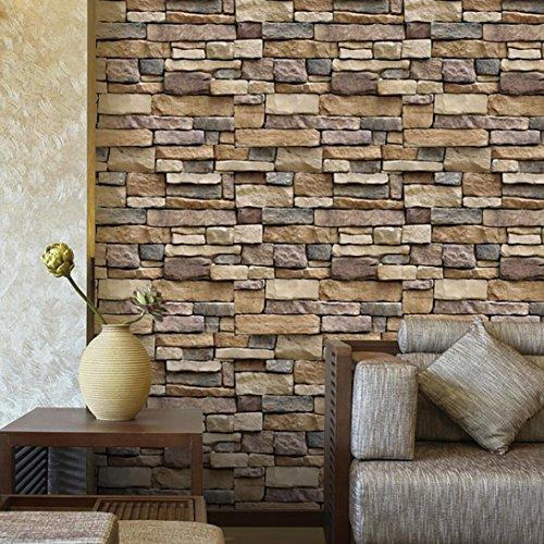 Wandaufkleber Yesmile Wandverkleidung in Steinoptik aus Styropor für Küche Terrasse Schlafzimmer Wohnzimmer Wandpaneele für Mediterrane Wandgestaltung