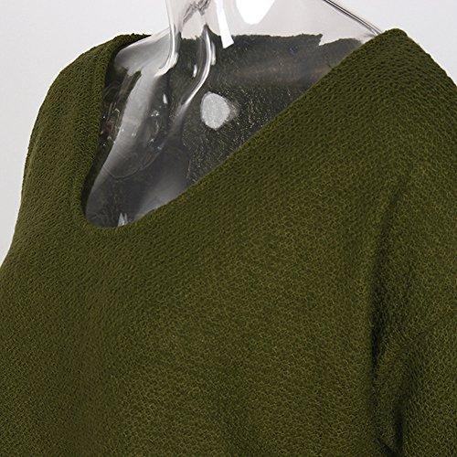 Vovotrade Pull V Cou pour femme, Tops en Tricot à Manches Longues Armée verte