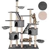 happypet® Kratzbaum für Katzen deckenhoch höhenverstellbar 240 - 260 cm hoch, CAT013, großer Kletterbaum Katzenbaum für mehrere Katzen geeignet, stabile Säulen mit Sisal ca. 8,5 cm Durchmesser inkl. Häuser Liegemulden Treppen FARBWAHL